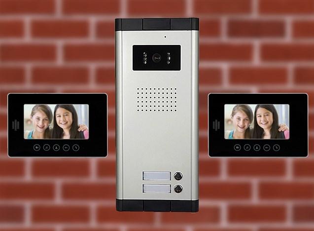 Характеристики комплекта 2 монитора + 1 двухкнопочная вызывная панель.